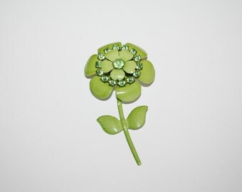 Vintage Green Flower Brooch / Pin 3 inches | Ships FREE in US