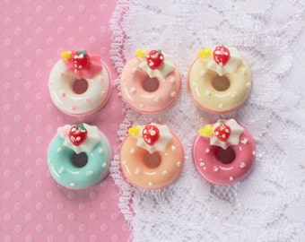 6 Pcs Pastel Strawberry Doughnut Cabochons - 20mm