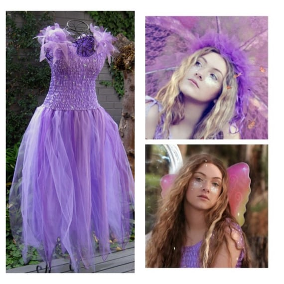 Deluxe Adult Party Woman's Fairy Dress ~ Plus Size Costume ~Theatre ~ Halloween ~Burlesque ~ Mardi Gras ~Wings ~ Headpiece.