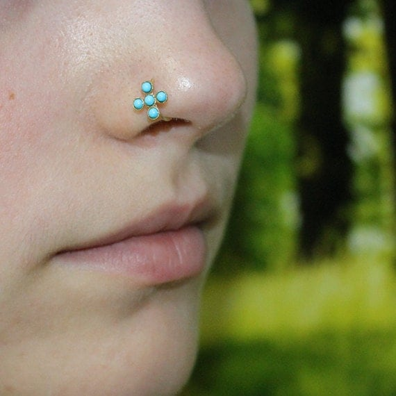 Gold Nose Ring - 2mm Turquoise Nose Hoop - Rook Earring - Septum Piercing - Tragus Jewelry - Cartilage Earring Hoop - Daith Ring 20 gauge
