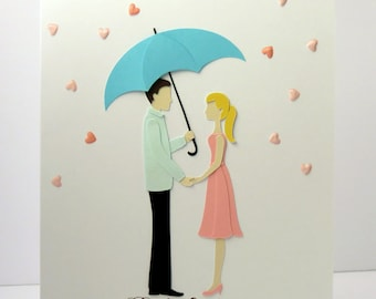 Personalized Anniversary card - handmade anniversary card with a couple under an umbrella - man and woman under umbrella
