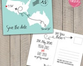 Destination Wedding Save the Date Postcard - Travel Theme - Custom - Printable - DIY