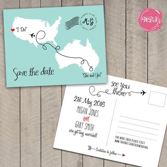 Destination Wedding Save The Date Postcard Travel Theme