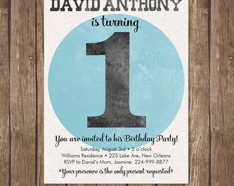 Boys 1st BIRTHDAY INVITATION Printable Invite first Kid Party Turning one
