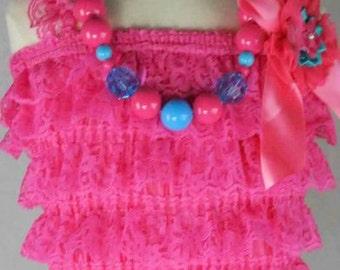 Petti Romper,Lace Petti,Berry Pink Petti Romper,3pcs Petti Romper with Flower,1st Birthday Petti Romper,Girls Pettie Romper,Rompers