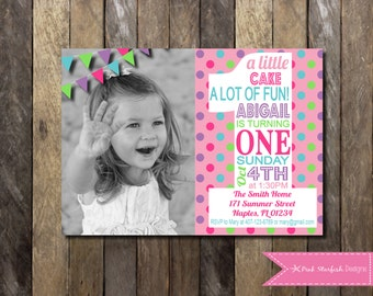 PRINTABLE Number 1 First Birthday Invitation with Picture - 1st Birthday Invitation ONE Polka Dot Pink -  Girls Boys Birthday Party
