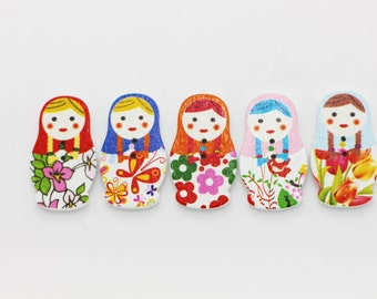 10 Matryoshka Doll Wood Button, Children Button, Baby Button, Mix Wooden Buttons, Two Holes Button,Wooden Russian Doll,Babushka Nested Dolls