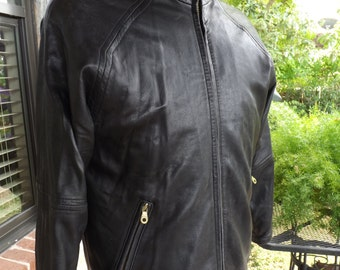 Andrew Marc Soft Black Leather Biker Jacket Zip Out Lining Woman's SZ S M