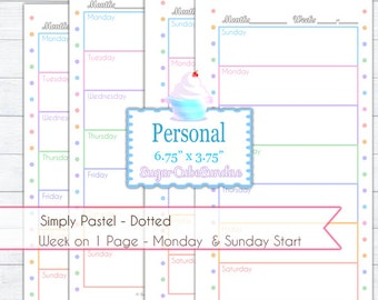 Personal Planner Printable - Simply Pastel Dotted - Week Horizontal on 1 Page