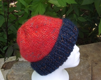 Woman's Blue & Orange Knit Hat, Mohair and Wool Blend, Bulky Soft Winter Cap, Warm Ski Cap, Fuzzy Knit Beanie, Woman'sGift