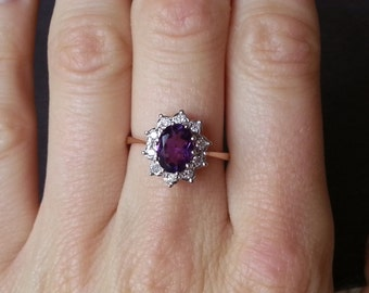 Amethyst Engagement Ring, in 9 Carat Yellow Gold With Diamond Halo