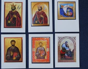 Artist cards with icons of British Saints [I] [Irish, Anglo-Saxon & Celtic Saints]