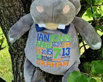 "Gray Hippo plush stuffed animal stuffie. LAST ONE***Subway art block birth announcement 12"" embroidered.  Custom saying or design. Baby gift"