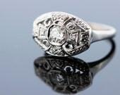 Unique Diamond Cluster 14K White Gold Ring