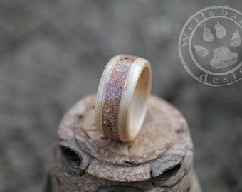 Wood ring - Bent Wood Ring - White Oak Wood Ring - Inlay Wood Ring - Custom Wood Ring - Fifth Anniversary Gift - Wooden Ring - Wedding Bands
