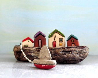 Collectible miniature gift Idea , Housewarming , gift for him , Ceramic houses on driftwood , Rustic beach cottages , Ceramics and pottery