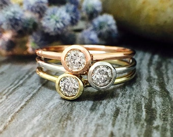 SET: Diamond Solitaire <Bezel on Top> Solid Tri-tone Gold (14KW, 14KY, 14KR) Stackable Rings *Fine Jewelry* (Free Shipping)