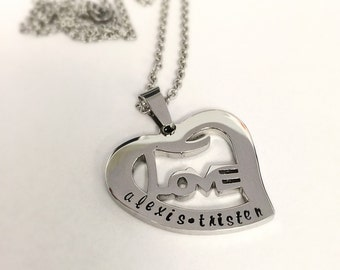 Hand stamped necklace - Stainless steel heart - Stainless steel necklace - Family jewelry - Personalized necklace - Heart necklace - Love