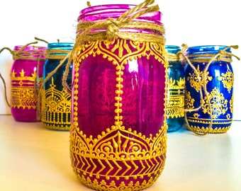 Creativity; 16oz. Hand Painted Indian Henna Mason Jar Lantern