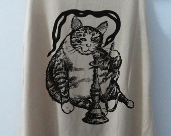 Cat Love hookah Tank Top Shirt Kitten Women Shirt Animal Women T-Shirt Tunic Top Funny Vest Size S,M,L