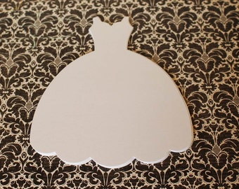 Large Die Cut Dress Form, Wedding Dress Form, White Sizzix Fabi Dress Die-cut, DIY bridal shower invite, wedding invitation