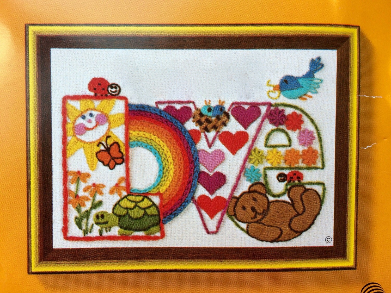 Crewel embroidery kit vintage pattern love