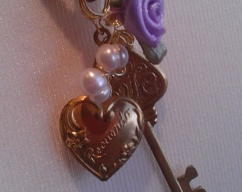 Keepsake Ribbon Charm Pendant- Victorian Style Velvet Ribbon with Gold Locket and Key Charms, Freshwater Pearls and Silk Rose