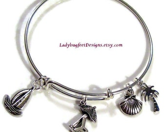 BEACH VACATION Adjustable Wire charm bangle,Tibetan Silver charm Bracelet,One Size Fits Most