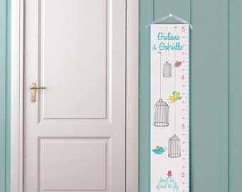 """Personalized Growth Chart """"Bird Cages"""" in Aqua Blue and White"""