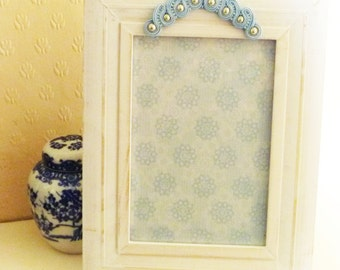 Clearance sale White distressed wood photo frame. Soutache decorated picture frame. Blue soutache and beaded photo frame from MollyG Designs