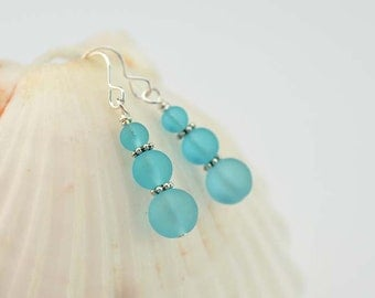 Blue sea glass earrings sea glass jewelry blue seaglass frosted glass beach glass mermaid tears bridesmaids jewelry bridesmaids earrings
