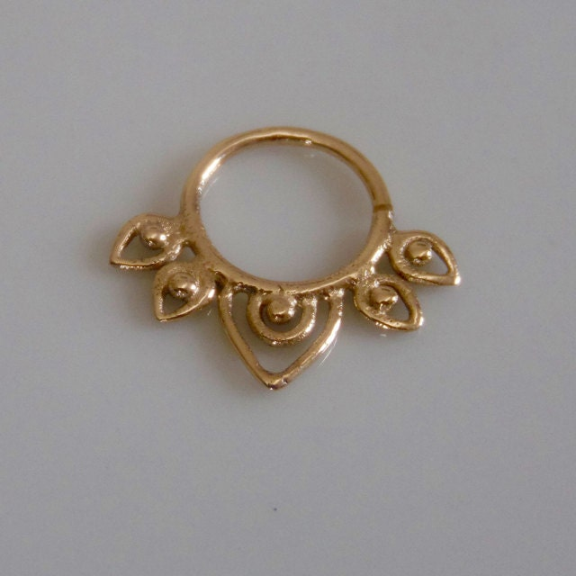 adwita 18k septum ring gold septum ring indian by ronibiza