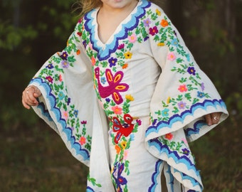 Bohemian Flower Girl Dress- Mexican Embroidered Wedding