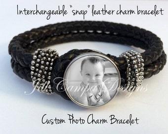 Black Leather Photo Bracelet - Jewelry with Interchangeable Snap Photo Charm - custom photo charm bracelet