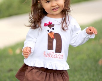Girl Thanksgiving Shirt with Turkey Initial Face and Embroidered Name