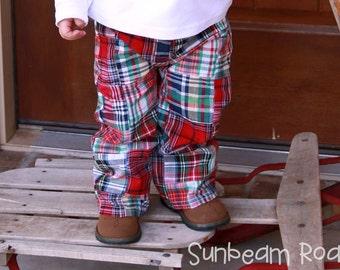 Boy's Christmas Pants Madras Plaid Pants Tartan Trousers - M23