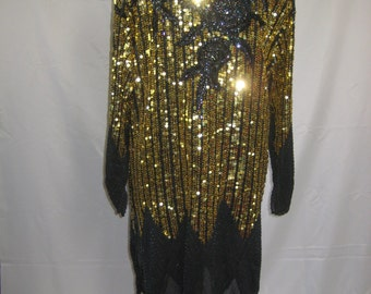 Deluxe AMAZING sequin and heavily beaded Masterpiece Vintage Dress.