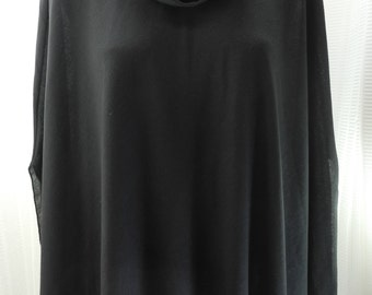 Vintage Lilly of California Black Knit Cowl Neck Poncho - Women's M