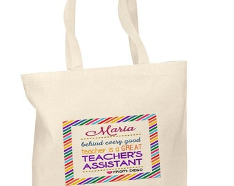 Personalized Cotton Tote Bags Custom Teacher Assistant Appreciation Gift Bags
