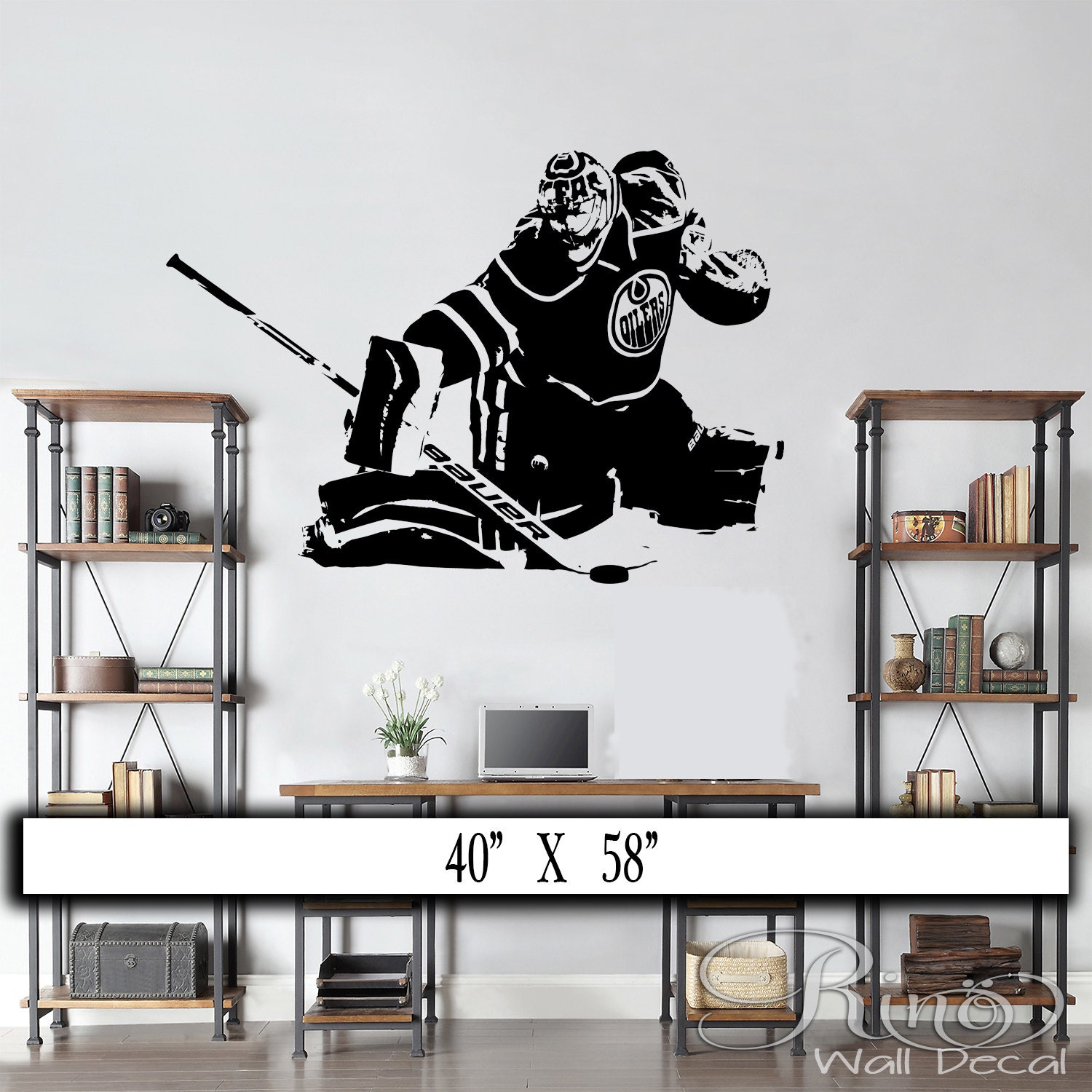 hockey goalie wall decal wall art vinyl sticker edmonton oilers cam talbot player silhouette home decor kids teen bedroom - Home Decor Edmonton