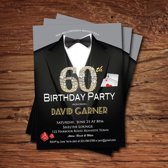 casino th birthday invitation. adult man birthday party, Birthday invitations