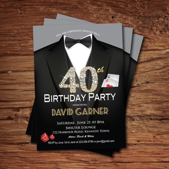 Casino 40th birthday invitation Adult man birthday party – Birthday Invitations for Men
