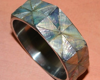 Bangle Bracelet - Beautiful Abalone Inlaid Bangle Bracelet Silver Tone Made in the Philippines in great condition!