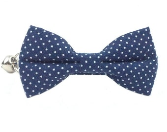 Navy Blue and White Mini Polka Dots Cat or Kitten Breakaway Safety Collar- Bow Tie Cat Collar- Removable Bowtie