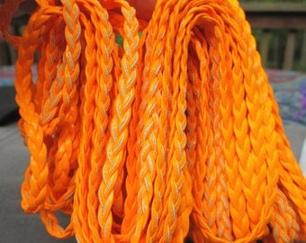 Colorful Neon Orange  Braided Genuine Leather 5mm