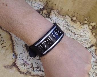 Skyrim inspired The Elder scrolls Dragonborn - Dovahkiin leather bracelet wrist / cuff