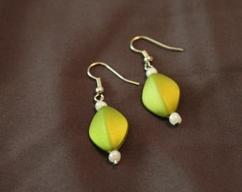 Hand crafted green drop earrings
