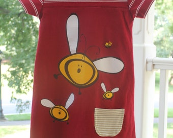 Upcycled Bumble Bee Dress, Girl's size 6 / 7