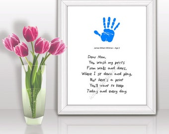 Gift for Mom Hand Print Poem Quote Birthday INSTANT DOWNLOAD Wall Decor Printable Digital 8x10 inches