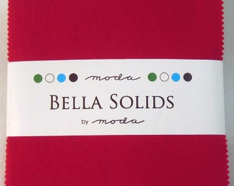 SALE Red Charm Pack Bella Solids  by Moda Fabrics  9900PP-16 Charm Pack Sale 100% Quilter's Cotton